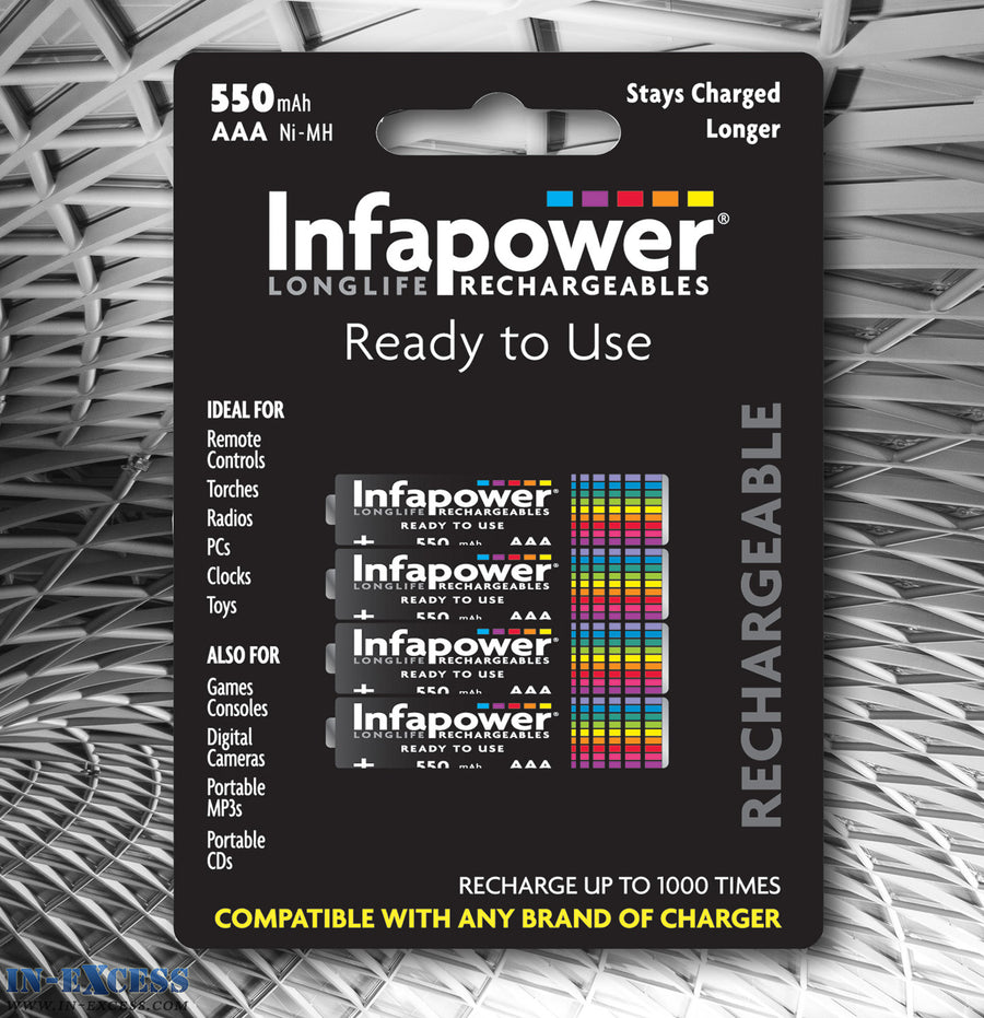 Infapower Rechargeable 550mAH AAA 1.2V Batteries Pack of 4