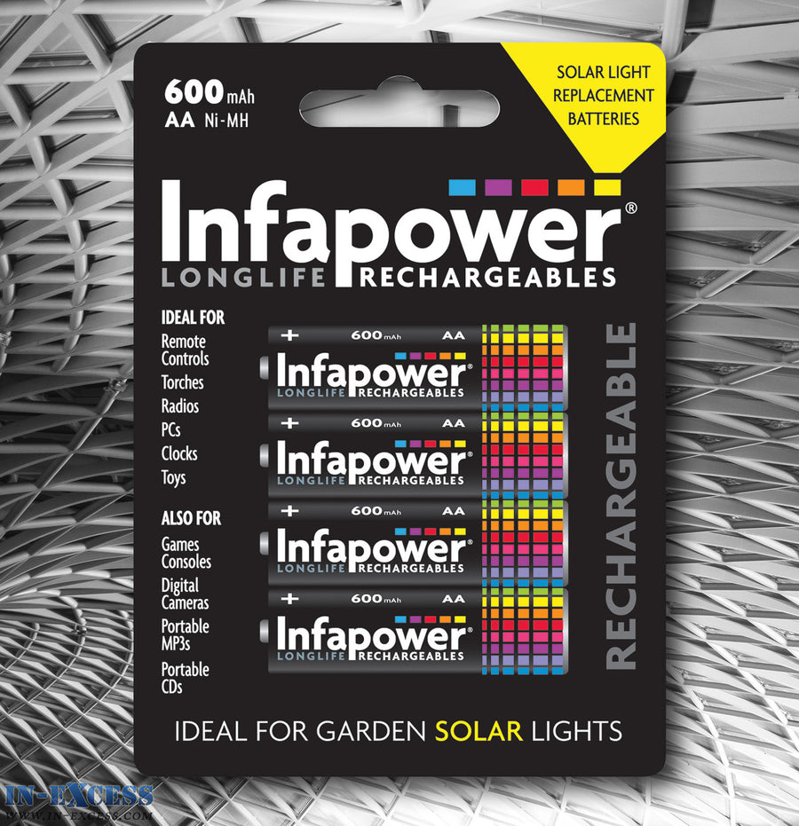 Infapower Rechargeable 600mAH AA 1.2V Batteries Pack of 4