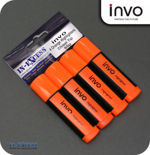 INVO Chisel Tip Highlighters Orange Ink - Pack of 4