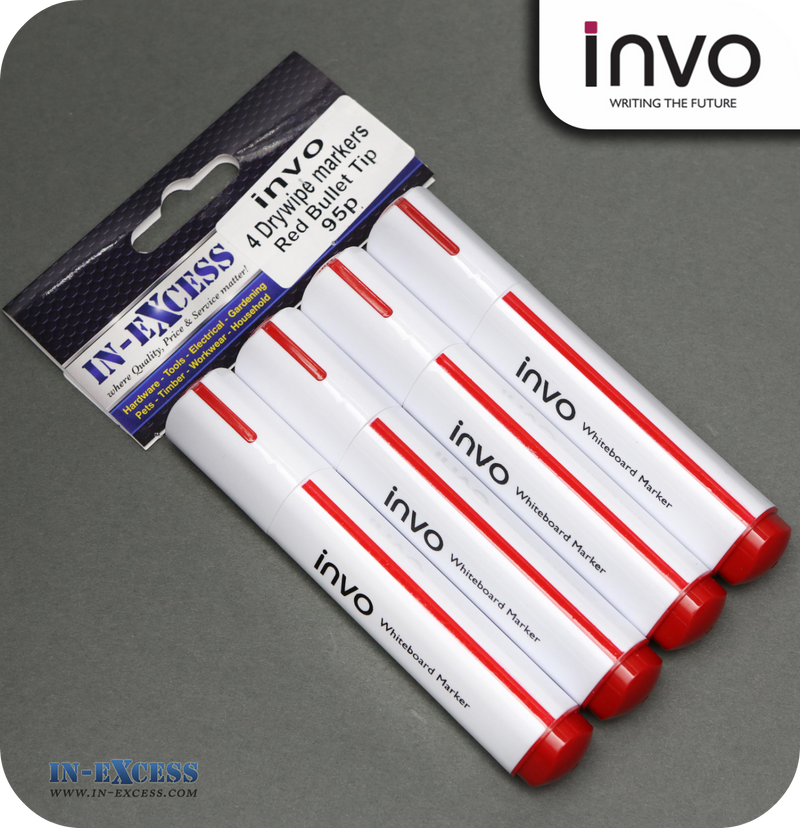 INVO Drywipe Whiteboard Marker Pens Red Ink - Pack of 4
