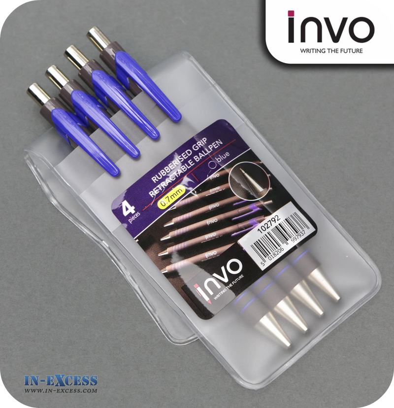 INVO Rubberised Grip Retractable Ballpen Blue Ink - Pack of 4