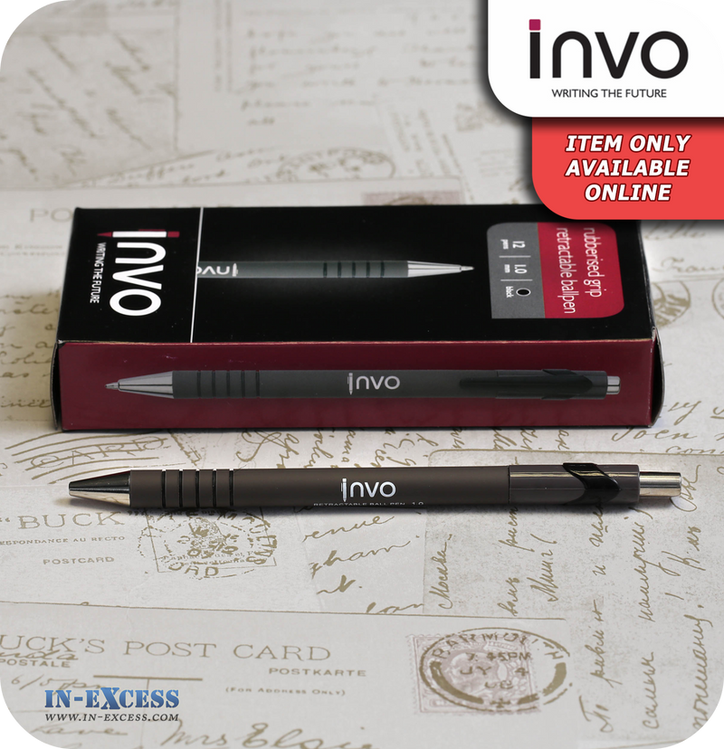 INVO Rubberised Grip Retractable Ballpen Black Ink - Pack of 12
