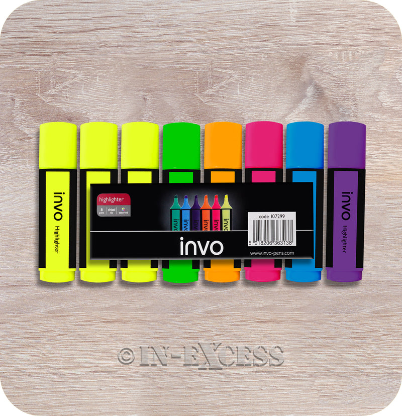 Invo Pen Chisel Tip School Work Highlighters Assorted Colours - Pack of 8