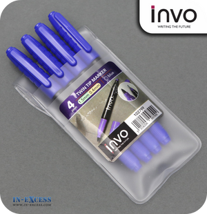 INVO Twin Tip Marker Pen Blue Ink - Pack of 4
