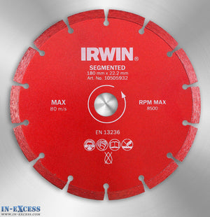 Irwin 180mm Red Diamond Disc Dry Cutting Blade Segmented 22.2mm Bore