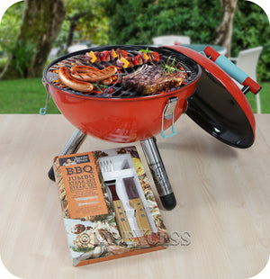 Genuine Jamie Oliver Charcoal Park Beach Festival Miniature BBQ Red - Including Steak Knife Set