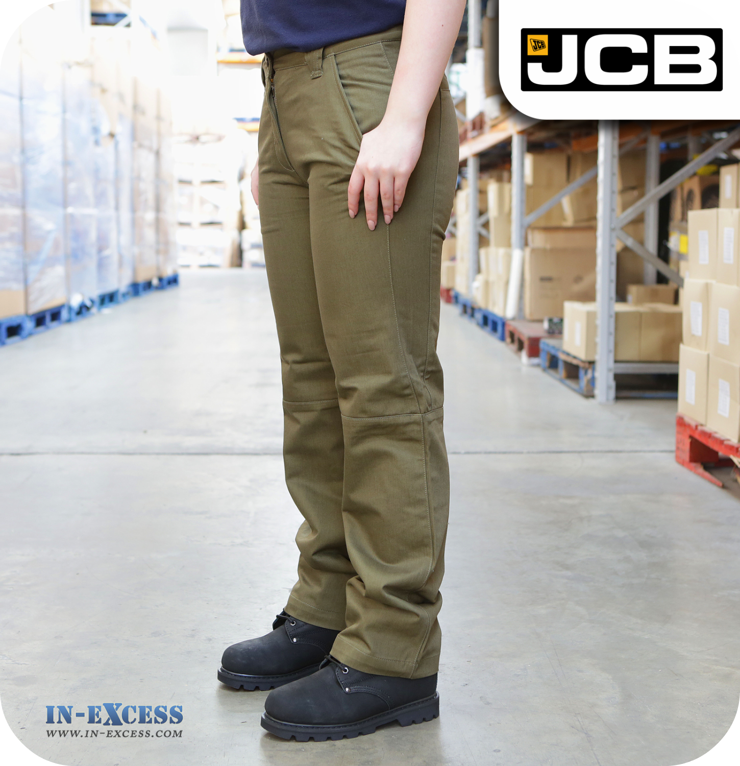 on feet at choose original arriving JCB Women's Workwear Trousers - Khaki Green