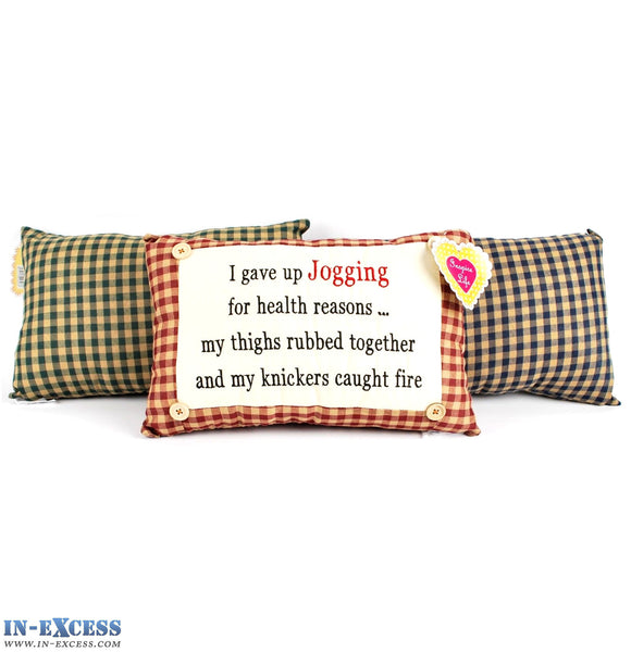 "Novelty ""I Gave Up Jogging For Health Reasons"" Cushion 38 x 23cm Blue, Green or Red"