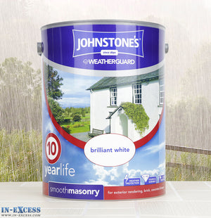 Johnstone's Weather Guard Smooth Masonry Paint - Brilliant White 5 Litre