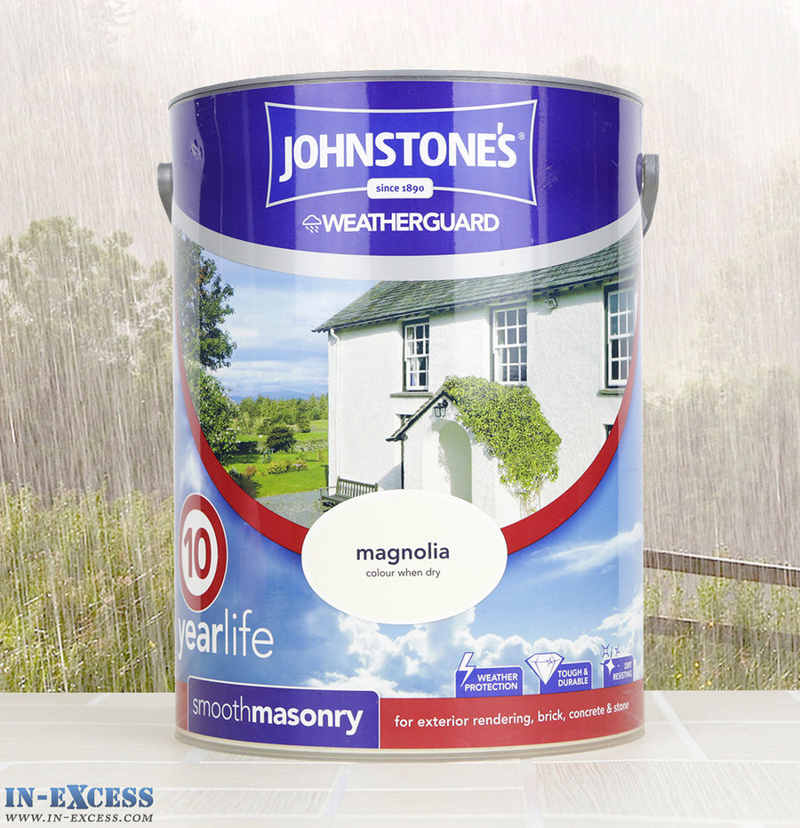 Johnstone's Weather Guard Smooth Masonry Paint - Magnolia 5 Litre