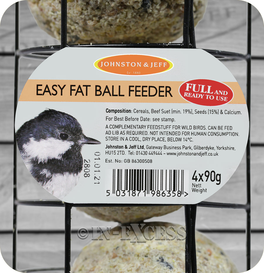 Johnston & Jeff Easy Pre-Filled Fat Ball Feeder - 4 x 90g
