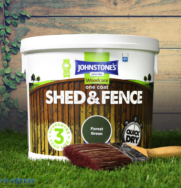 Johnstone's Woodcare Onecoat Fence & Shed 5 Litre - Forest Green