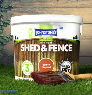 Johnstone's Woodcare Onecoat Fence & Shed 5 Litre - Golden Chestnut