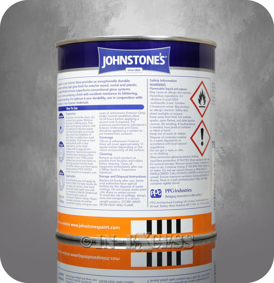 Johnstone's 6 Year Life Exterior Gloss Brilliant White - 750ml