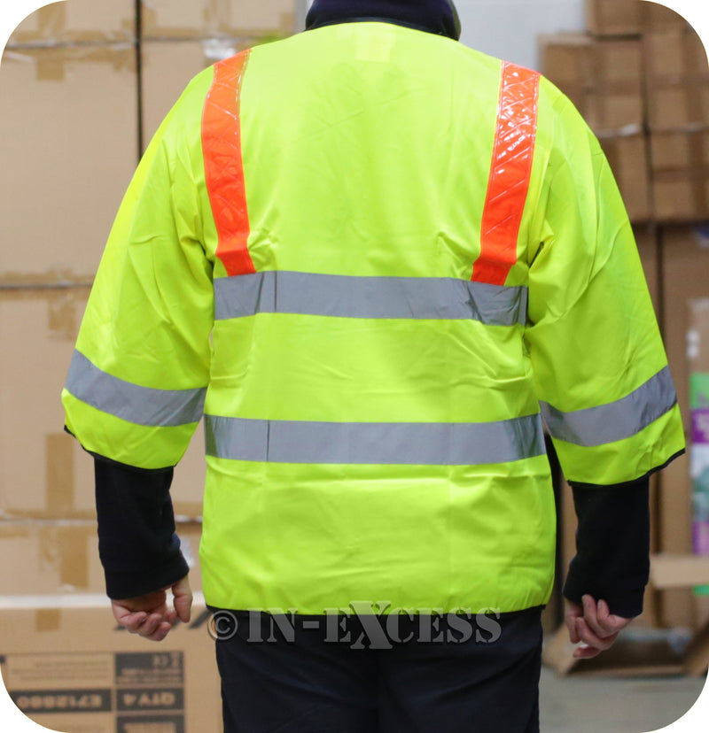 JSP Class 2 High Visibility Reflective Zipped Vest Waist Coat - Yellow With Red Braces