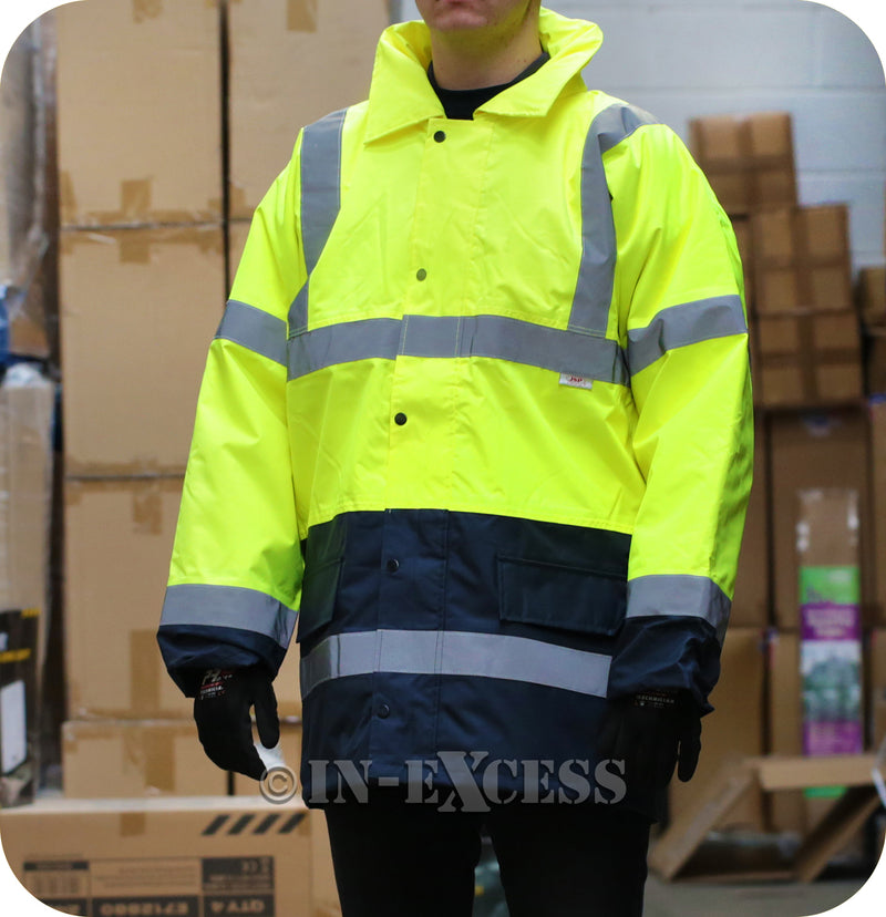 JSP Class 2 & 3 High Visibility Two Tone Reflective Waterproof Coat - Yellow & Navy