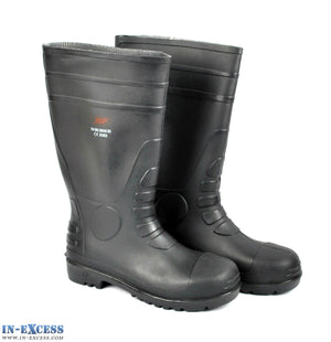 JSP Black Steel Toe Cap Safety Wellington Wellies Boots UK Sizes 6-10