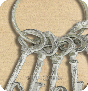 Cast Iron Style Love Keys Rustic Primitive Antiqued Decor Large Vintage Shabby Chic