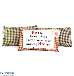 "Novelty ""Be Kind To Your Kids They Choose..."" Cushion 38 x 23cm Blue, Green or Red"