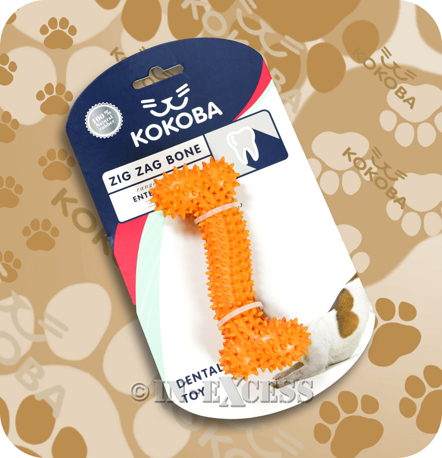 Kokoba Zig Zag Bone Dog Dental Rubber Toy For Dog Teeth Cleaning
