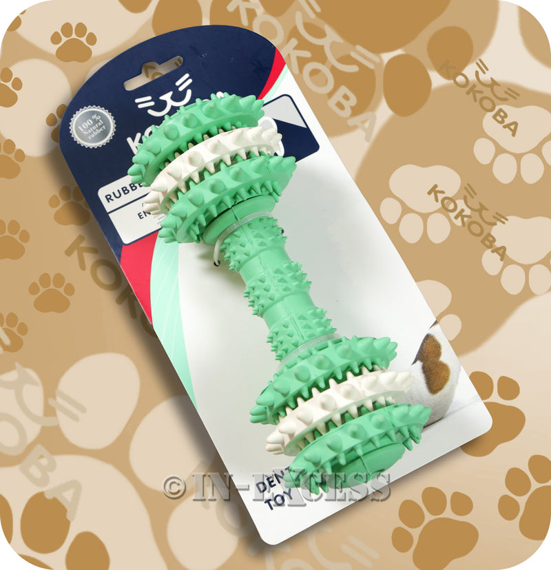 Kokoba Dumbbell Dog Dental Rubber Toy For Dog Teeth Cleaning
