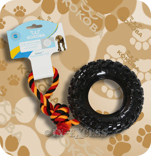Kokoba Dog Tyre With Rope Floatable Agility Pet Toy