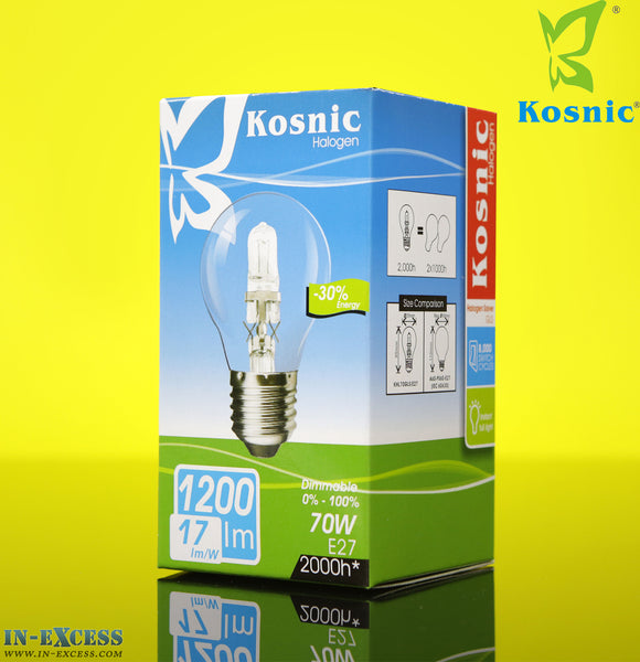 Kosnic halogen -30% Energy 70W E27 Fitting (50-60Hz 1200lm 3000k) GLS Bulb