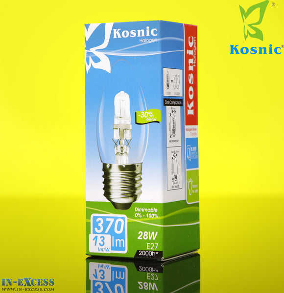 Kosnic halogen -30% Energy 28W E27 Fitting (50-60Hz 370lm 3000k) Candle Bulb