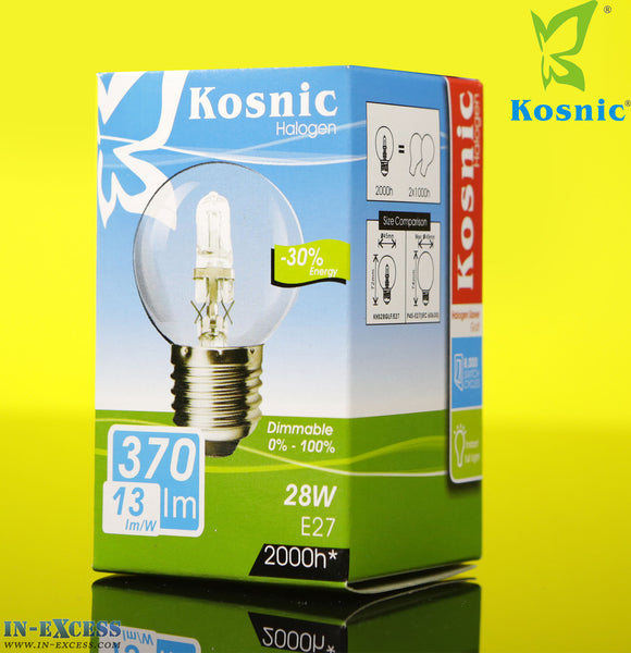 Kosnic halogen -30% Energy 28W E27 Fitting (50-60Hz 370lm 3000k) Golf Bulb