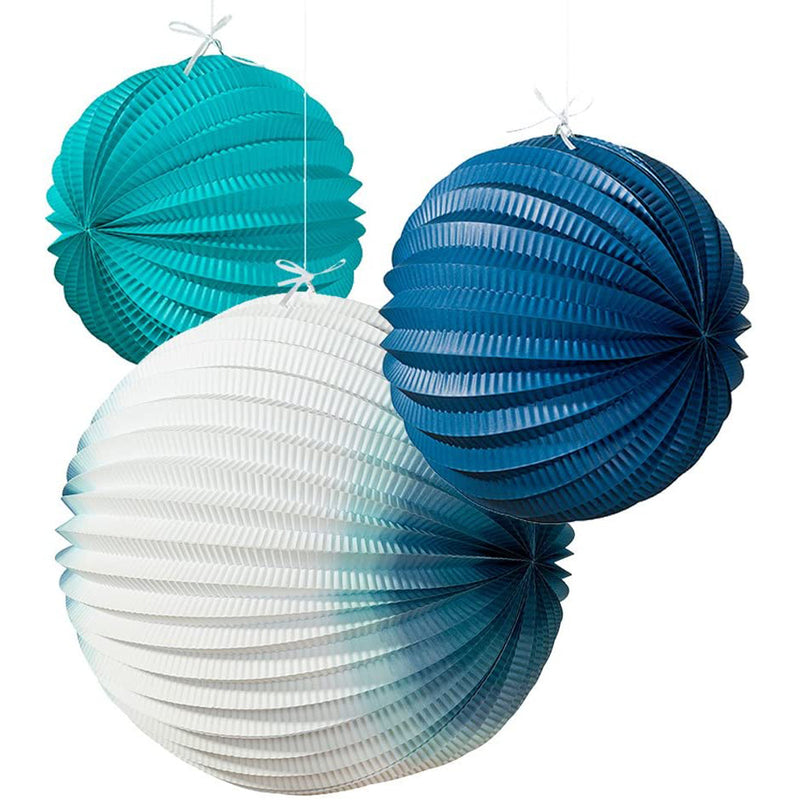 Talking Tables Set of 3 Paper Lanterns - Blue