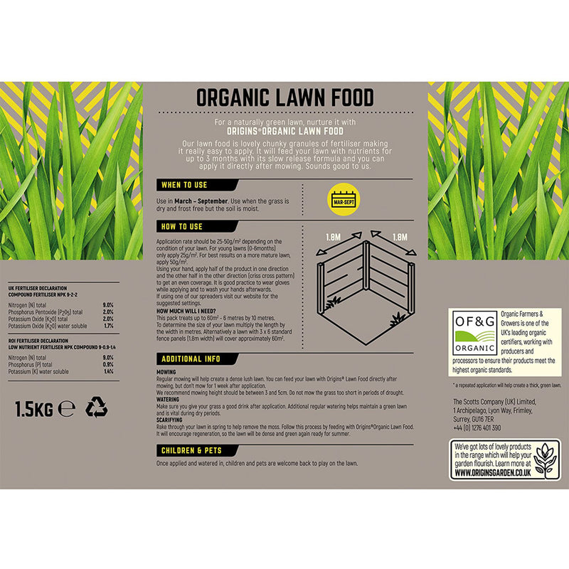 Origins Organic Lawn Food - upto 60 square metre coverage 1.5KG