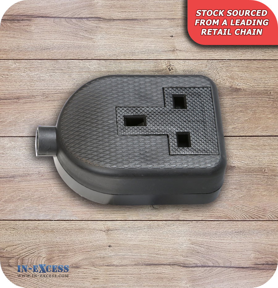 In-Excess Rubber Black Socket 1 Gang 13A
