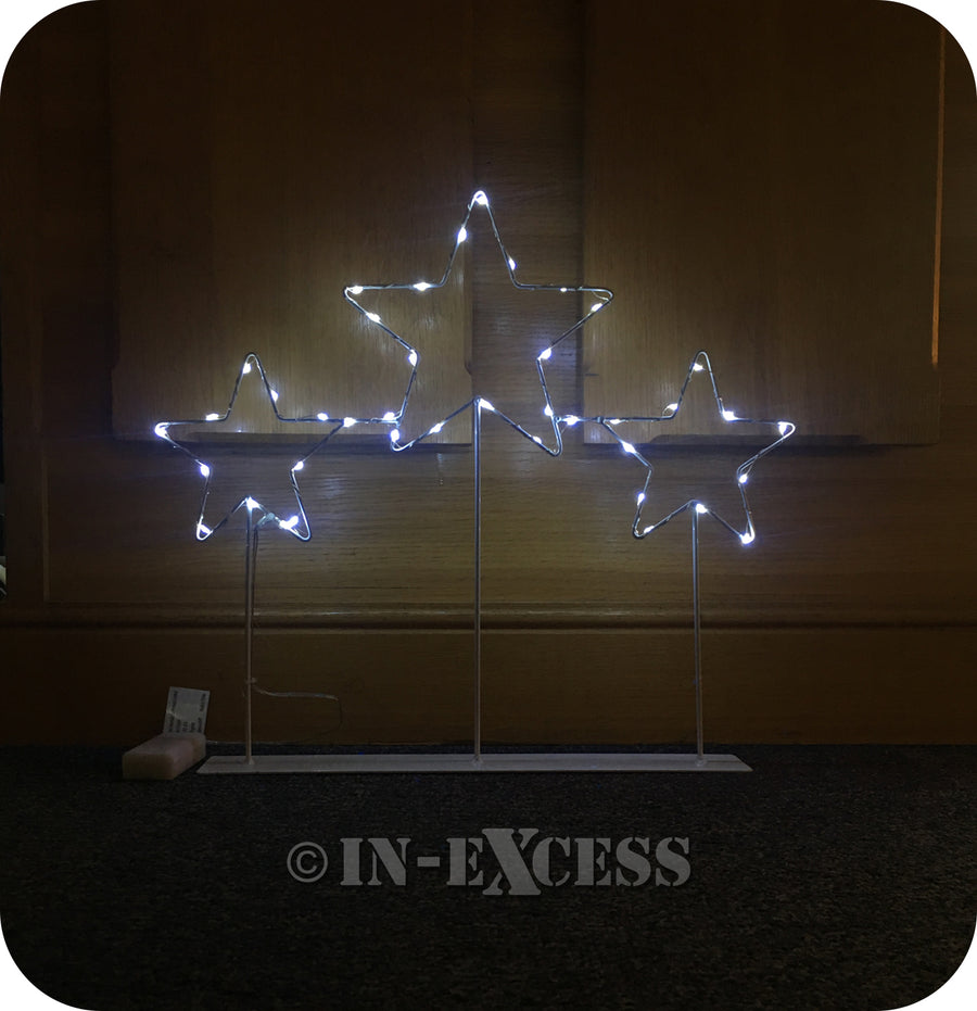 LED Christmas Cool White Lights Trio of Stars - IP20 Rated With 40 LEDs