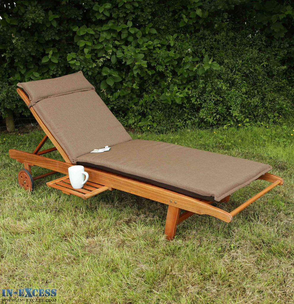 Leisuregrow Sunlounger Cushion Garden Lounger Cushion - Chocolate/Dark Brown