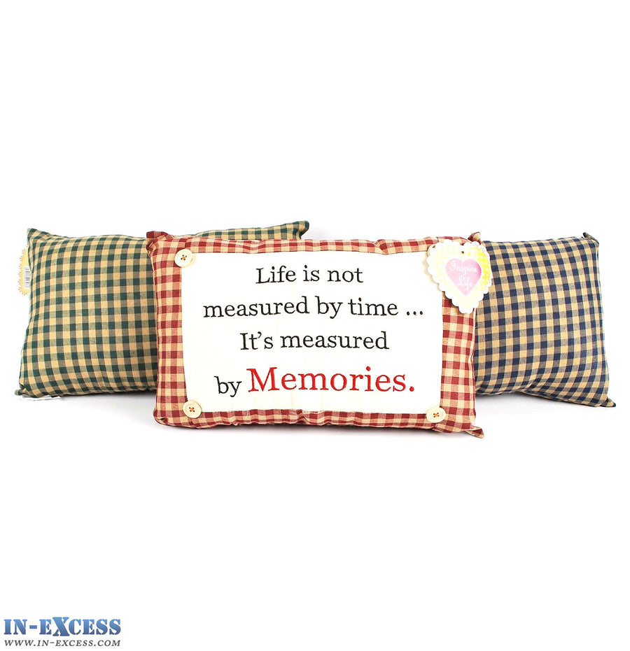"Novelty ""Lifes Measured By Memories"" Cushion 38 x 23cm Blue, Green or Red"