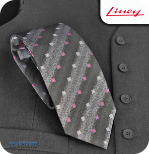 Liney Premium Men's Polyester Tie - Black & Grey with Squares
