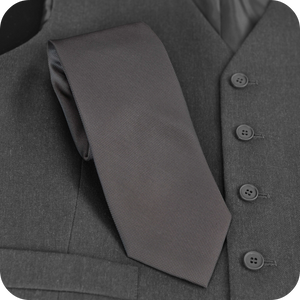 Liney Premium Men's Polyester Tie - Dark Grey