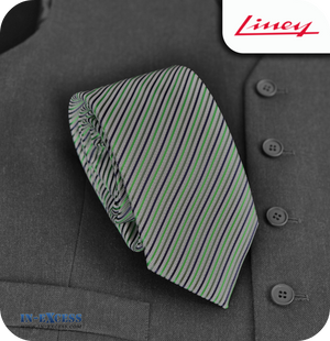 Liney Premium Men's Polyester Tie - Green & Black Striped
