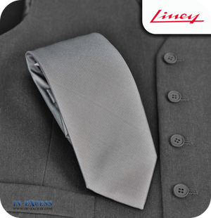Liney Premium Men's Polyester Tie - Grey