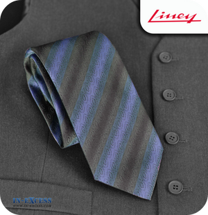 Liney Premium Men's Polyester Tie - Navy & Black Striped