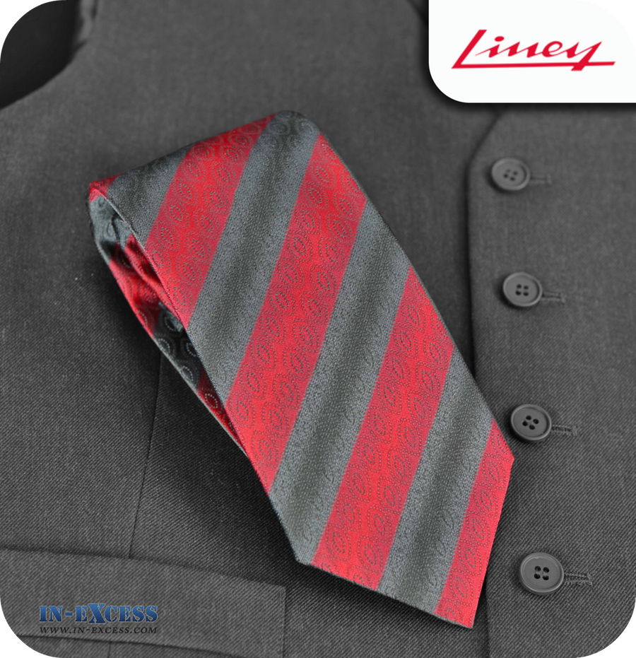 Liney Premium Men's Polyester Tie - Red & Black Striped