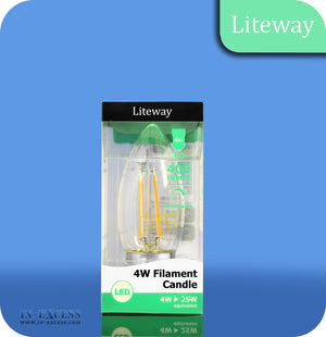 Liteway LED Dimmable Filament Candle Bulb B22 - 4W~25W