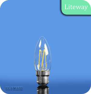 Liteway LED Non-Dimmable Filament Candle Bulb B22 - 4W~25W