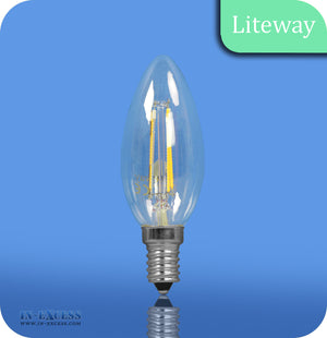 Liteway LED Dimmable Filament Candle Bulb E14 - 4W~25W