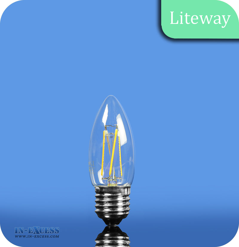 Liteway LED Non-Dimmable Filament Candle Bulb E27 - 4W~25W