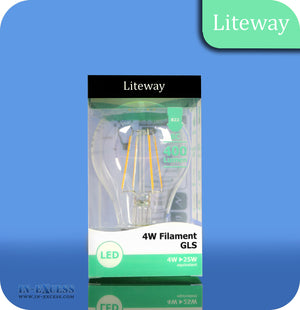 Liteway LED Filament Non-Dimmable GLS Bulb B22 - 4W~25W