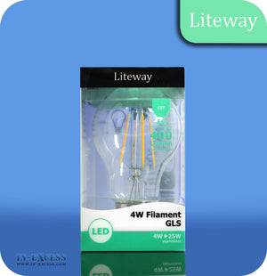 Liteway LED Filament Non-Dimmable GLS Bulb E27 - 4W~25W