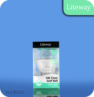 Liteway LED Non-Dimmable Clear Golf Ball Bulb E27 - 6W~40W