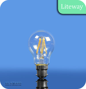 Liteway LED Filament Non-Dimmable GLS Bulb B22 - 6W~40W