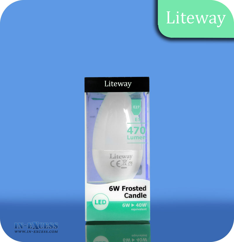 Liteway LED Non-Dimmable Frosted Candle Bulb E27 - 6W~40W